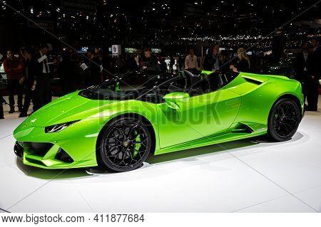 Lamborghini Huracan Evo Spyder Supercar At The 89th Geneva International Motor Show. Geneva, Switzer