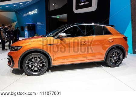 Geneva, Switzerland - March 6, 2019: Volkswagen T-roc R Car Showcased At The 89th Geneva Internation