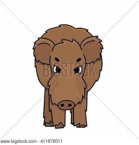 Brown Aggressive Angry Vector Brown Outline Cartoon Boar Wild Male Pig. Doodle Isolated Illustration