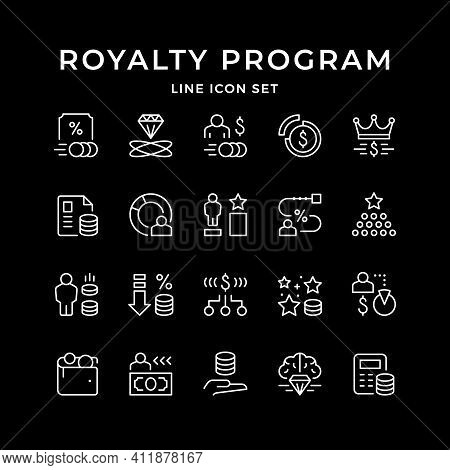 Set Line Icons Of Royalty Program Isolated On Black. Affiliate Sale, Rate Level, Franchise, Money Al