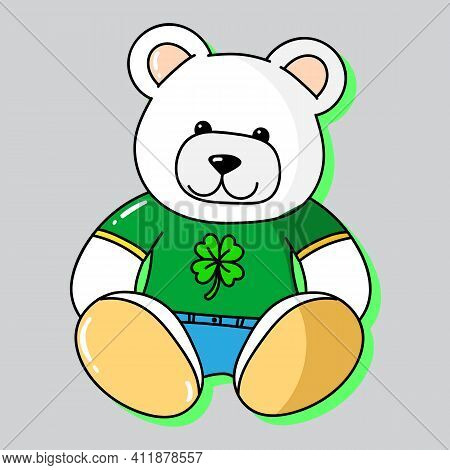 Vector Illustration Of A White Teddy Bear With  T-shirt With A Clover, Slogan Print Vector, Saint Pa