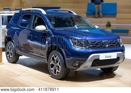 Geneva, Switzerland - March 6, 2019: Dacia Duster Car Showcased At The 89th Geneva International Mot