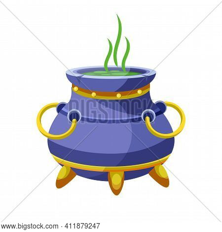 Pot With Boiled Potion Isolated On White Background. Witch Cauldron With Bubbling Green Liquid. Magi
