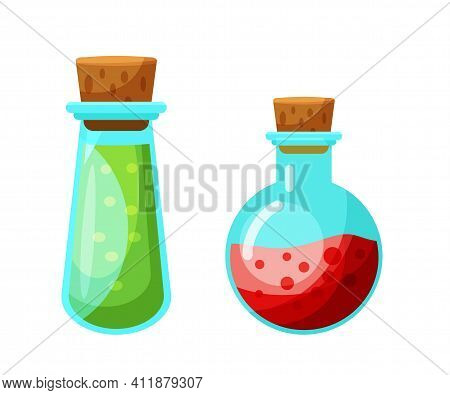 Vector Potion In Glass Flask Isolated Set On White Background. Magical Liquid Poison Drink. Magnific