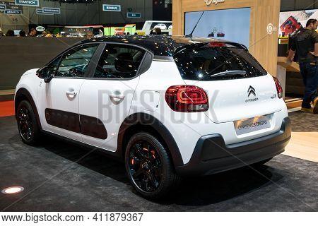 Geneva, Switzerland - March 6, 2019: Citroen C3 Origins Car Showcased At The 89th Geneva Internation