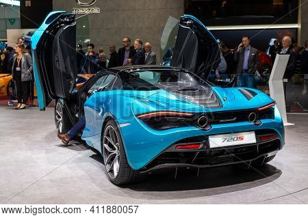 Geneva, Switzerland - March 6, 2019: Mclaren 720s Sports Car Showcased At The 89th Geneva Internatio
