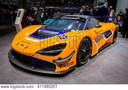 Mclaren Richard Mille Rm 11-03 Race Sports Car At The 89th Geneva International Motor Show. Geneva,