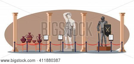 Ancient Antique And Medieval Historic Museum Hall Interior. Vector Greek Gypsum Sculpture Antique St