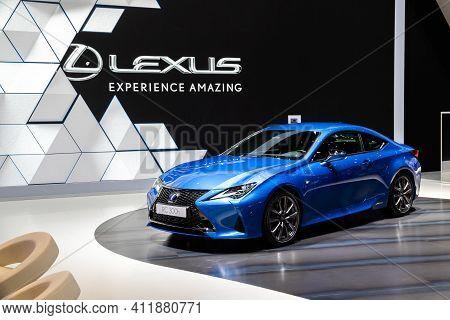 Geneva, Switzerland - March 6, 2019: Lexus Rc 300h Car Showcased At The 89th Geneva International Mo