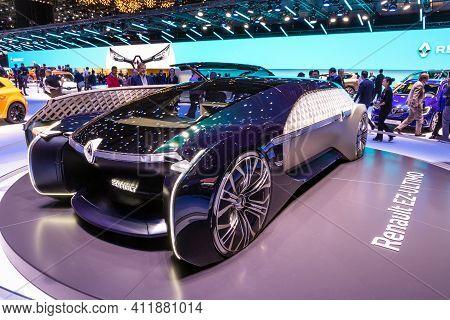 Geneva, Switzerland - March 6, 2019: Renault Ez-ultimo Self-driving Luxury Lounge Concept Car  Prese
