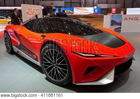 Electric Gfg Style Kangaroo Supercar Revealed At The 89th Geneva International Motor Show. Geneva, S
