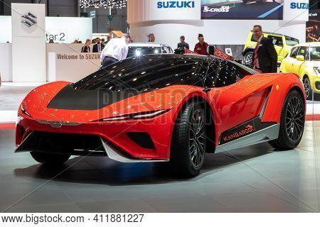 Geneva, Switzerland - March 6, 2019: Electric Gfg Style Kangaroo Supercar Revealed At The 89th Genev