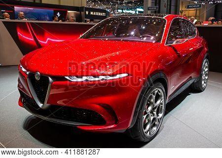 Alfa Romeo Tonale Car At The 89th Geneva International Motor Show. Geneva, Switzerland - March 6, 20