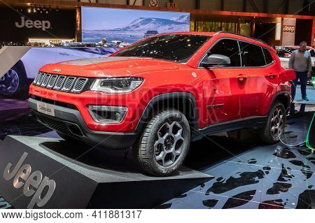 Geneva, Switzerland - March 6, 2019: Jeep Compass Plug-in Hybrid Car Unveiled Showcased At The 89th