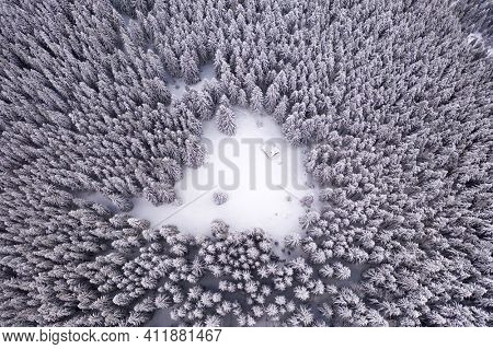 Aerial drone top down fly over winter spruce and pine forest with wooden cabin. Fir trees in mountains valley covered with snow. Landscape photography