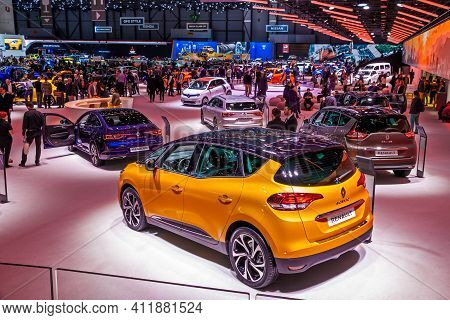 Visitors And Cars Overview Of The 89th Geneva International Motor Show. Geneva, Switzerland - March