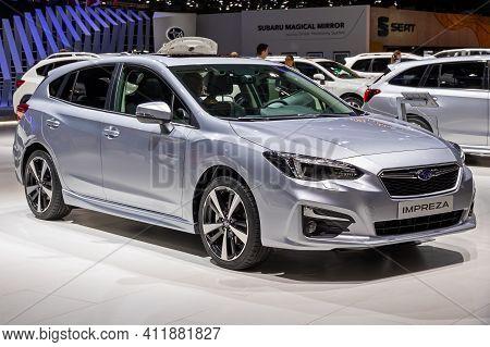 Subaru Impreza Car At The 89th Geneva International Motor Show. Geneva, Switzerland - March 6, 2019.