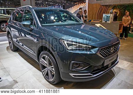 Seat Tarraco Car At The 89th Geneva International Motor Show. Geneva, Switzerland - March 6, 2019.