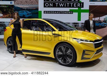 Geneva, Switzerland - March 6, 2019: Skoda Vision Iv Concept Car Reveiled At The 89th Geneva Interna