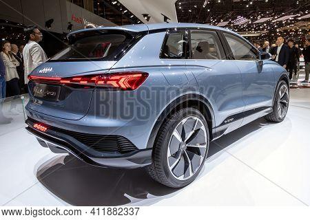 Geneva, Switzerland - March 6, 2019: Audi Q4 E-tron Electric Cuv Car Showcased At The 89th Geneva In