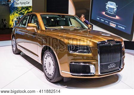 Aurus Senat Armored Limousine Showcased At The 89th Geneva International Motor Show. Geneva, Switzer