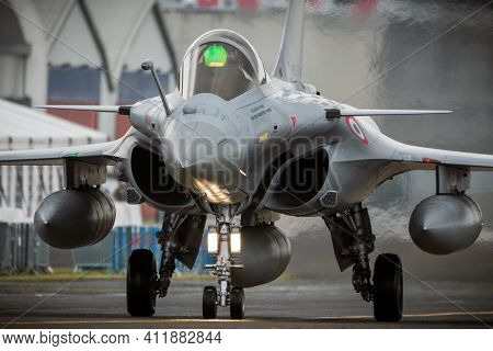Mont-de-marsan, France - May 17, 2019: French Air Force Dassault Rafale Fighter Jet Plane Taxiing To