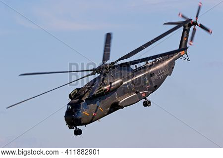 Jagel, Germany - Jun 13, 2019: German Army Sikorsky Ch-53 Stallion Transport Helicopter Performing A