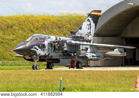 Jagel, Germany - Jun 13, 2019: Special Livery Painted German Air Force Panavia Tornado Fighter Bombe