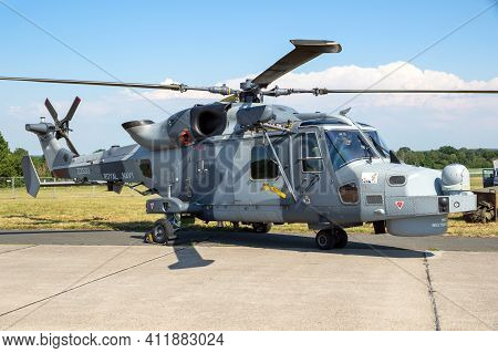Nordholz, Germany - Jun 14, 2019: British Royal Navy Agustawestland Aw159 Wildcat Helicopter On The