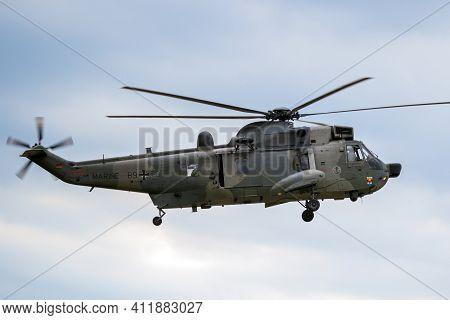 Nordholz, Germany - Jun 14, 2019: German Navy Sikorsky S-61 Sea King Rescue Helicopter Arriving At N