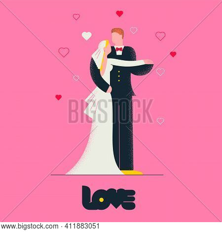 Bride In Wedding Dress And Groom Hugging On Wedding. Illustration For Wedding And Valentines Day