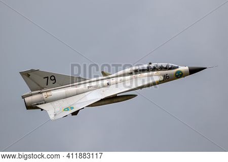 Volkel, Netherlands - Jun 15, 2019: Vintage Former Swedish Air Force Saab Draken Fighter Jet Plane P