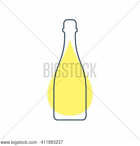 Modern Abstract Illustration With Bottle Champagne With Yellow Blob. Linear Outline Sign. Logo Icon