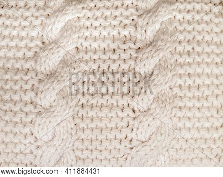 Close Up Of Off White Cable Knit Stitch Pattern