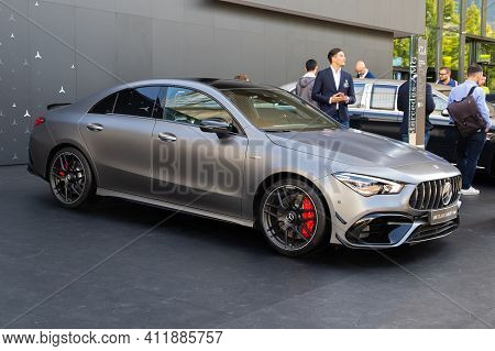 Frankfurt, Germany - Sep 10, 2019: New Mercedes-amg Cla 45 Coupe Car Model Showcased At The Frankfur
