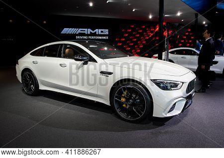 Frankfurt, Germany - Sep 10, 2019: Mercedes Amg Gt 63 S Coupe Sports Car Showcased At The Frankfurt