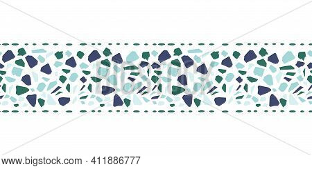 Blue And Green Italian Terrazzo Seamless Border. Venetian Marble Flooring Texture Vector Background.