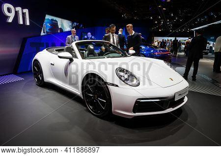 Frankfurt, Germany - Sep 10, 2019: Porsche 911 Carrera 4 Coupe Sports Car Showcased At The Frankfurt