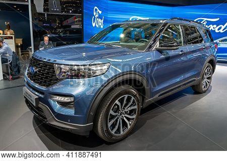Frankfurt, Germany - Sep 10, 2019: New 2020 Ford Explorer Plug-in Hybrid Car Presented At The Frankf