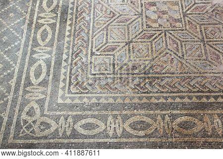 Cyprus - Kato Paphos Archeological Park Ancient Greek Mosaic. Unesco World Heritage Site. Cyprus Lan