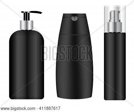 Black Cosmetic Jar. Shampoo Bottle, Pump Container. Black Plastic Tube Mockup, Barber Product Flask