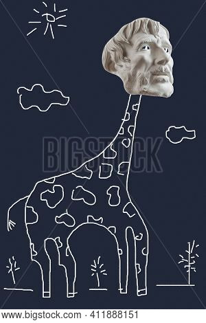Primitive Drawing Collage With Bearded Man Face And Giraffe Body. Modern Naive Art With Human Head A