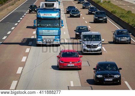 Frankfurt, Germany - Sep 11, 2019: Traffic On A German Highway. German Autobahns Have No General Spe