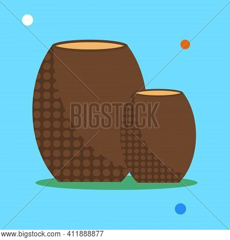 Vector Flat Illustration Of Clay Ceramic Jugs. Isolated Clay Pots On A Blue Background With Cartoon