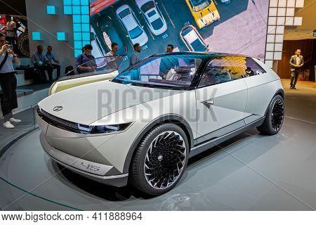 Frankfurt, Germany - Sep 11, 2019: Hyundai 45 Ev Concept Car Reveiled At The Frankfurt Iaa Motor Sho