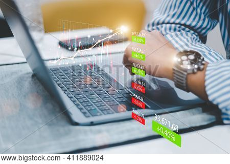 Business Finance Technology And Investment Concept, Business People Analyze Financial Data Chart Tra