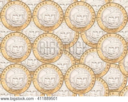 Collage Made Of High Quality Images Of Russian And Soviet Commemorative Coins
