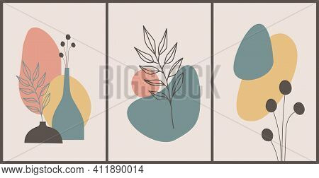 Earth Tone Boho Foliage Line Art Drawing. Hand Drawn Plants, Shapes, Palm Leaves And Vases. Tropical
