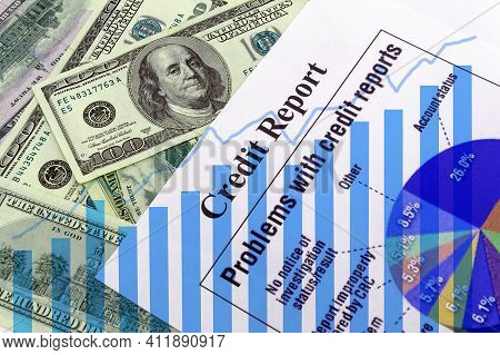 Growing Chart Amid Dollars And And Credit Report Sheet. The Idea Of A Successful Credit History. Ba3