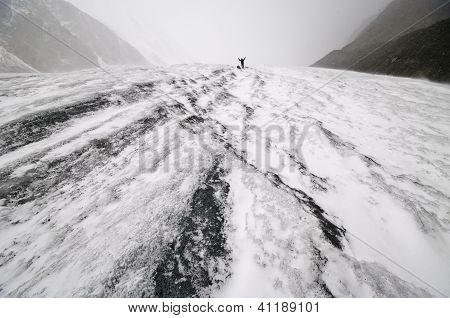 Man Climbering In Altay Mountains, Russia.